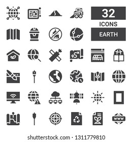 earth icon set. Collection of 32 filled earth icons included Network, Recycled paper, Recycle, Internet, Auger, Map, National geographic, Earth grid, Satellite, Worldwide, World
