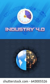 Earth Icon and Time Concept Presentation Design. Internet of Things, Cloud Computing, Wireless and Network, Future, Automation Illustration Symbol Template. Industry 4.0 Business Control Set