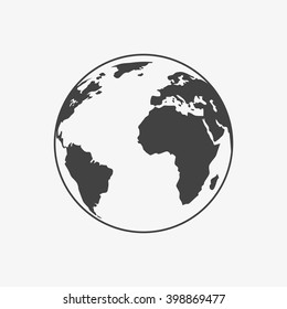Earth Icon in trendy flat style isolated on grey background. World globe symbol for your web site design, logo, app, UI. Vector illustration, EPS10.