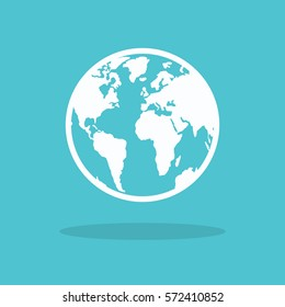 Earth Icon in trendy flat style isolated on blue background. World globe symbol for your web site design, logo, app, UI.
