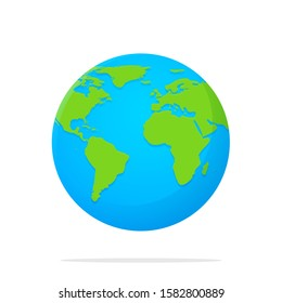 Earth Icon. Vector globe with a flat cartoon world map isolate on white background.