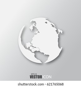 Earth icon in white style with shadow isolated on grey background. For your design, logo. Vector illustration.