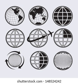Earth icons set / Vector icons .Elements of this image furnished by NASA