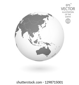 Earth illustration. Each country has its own autonomous border and background color fill, which gives the opportunity to select the desired part from the rest of the content. Objects are isolated.