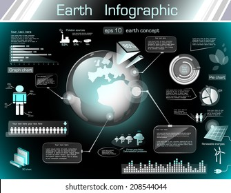 Earth infographic on black background, EPS 10