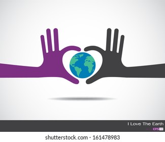 The earth inside heart made up of human hands Hands