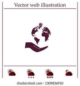 Earth insurance web icon. vector design