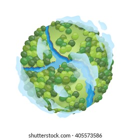 Earth isolated on white background. Earth day. Green Ecology elements. Vector illustration.
