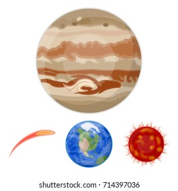 Earth, Jupiter, the Sun of the Planet of the Solar System. Asteroid, meteorite. Planets set collection icons in cartoon style vector symbol stock illustration web.