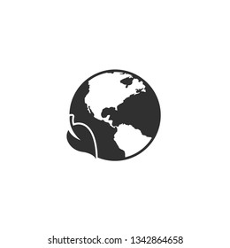 Earth with leaf icon in simple design. Vector illustration.
