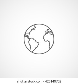 Earth Line Icon On White Background