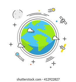 Earth liner flat design. Planet in space with lines space satellites, comets, Moon icons. Illustration for banners, catalogs, infographics. Earth day icon isolated on white background  - stock vector
