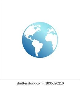 earth logo design vector blue