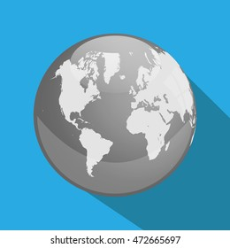 Earth with longshadow on a blue background