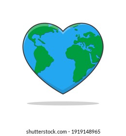 Earth Love Vector Icon Illustration. Earth Day Flat Icon
