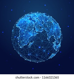 Earth. Low poly blue. Polygonal abstract space illustration. In the form of a starry sky or space. Vector image in RGB Color mode.