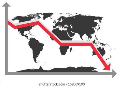 Earth Map Chart Down