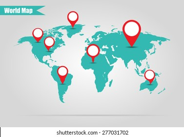 Earth marked on the map vector illustration