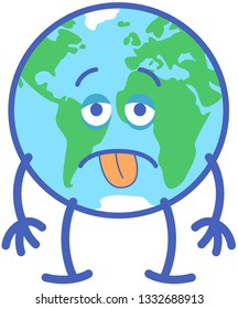 Earth in minimalist cartoon style feeling discouraged and staring at you. It looks exhausted with prominent bags under its eyes. It sticks its tongue out while its arms fall down in sign of distress