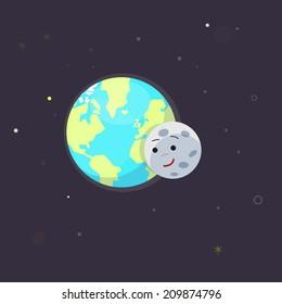 earth and moon. love - vector illustration