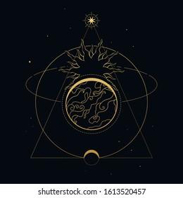 Earth, Moon and Sun. Vector illustration