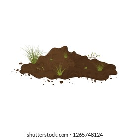 Earth mound. Ground with tuffet and branches with leaves. Illustration of landscape, nature, soil, farming. Colored flat icon, cartoon vector design.
