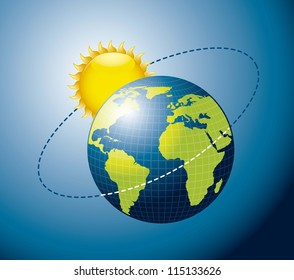 Earth movement around the Sun over blue background. vector