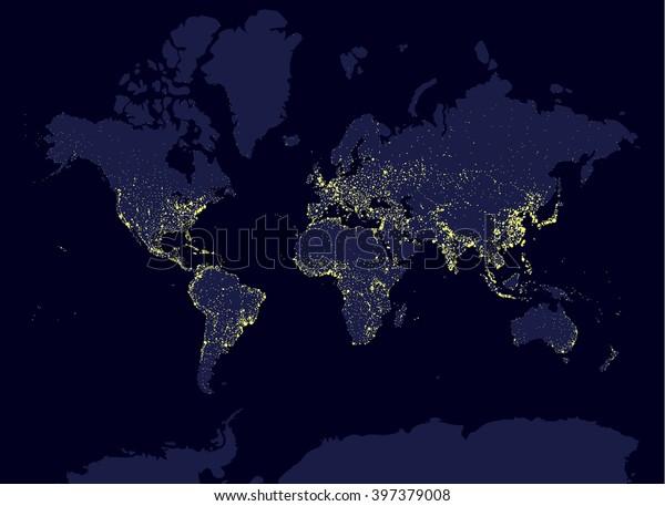 Earth Night World Map Earth Day Stock-Vrgrafik (Lizenzfrei ... on