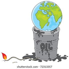 Earth on a dirty oil barrel with a burning fuse