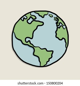 earth on paper / cartoon vector and illustration, isolated on white background.
