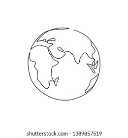 Earth One line drawing icon. Continuous line Globe. Minimalism style