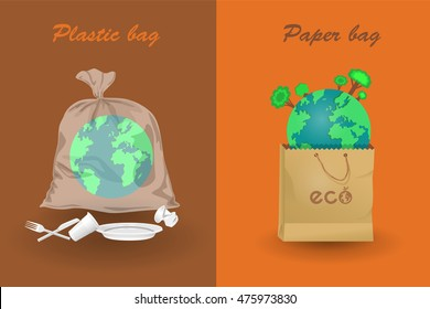 Earth in paper and plastic bags. Infographics vector illustration. Ecological concept