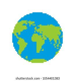 Earth pixel art. Pixelated planet. Vector illustration
