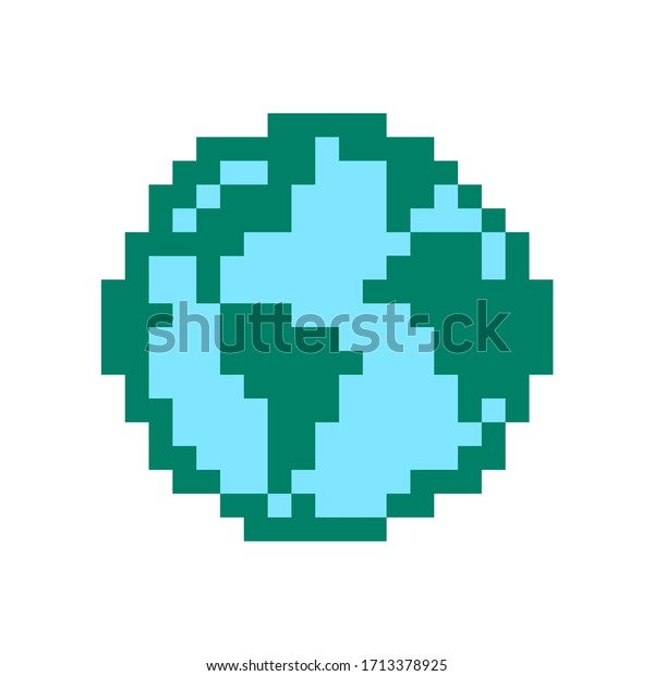 Earth Pixel Earth Globe Image Lego Stock Vector Royalty Free 1713378925