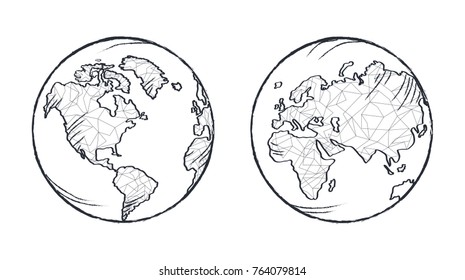 Earth planet black and white model drawn from two sides. Continents on vector illustration filled with thin polygons. Icon isolated on white