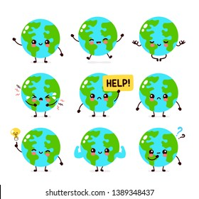 Earth planet character set collection.Vector hand drawing flat style illustration icon design. Isolated on white background. Eco friendly,save ecology,Earth day concept.World map globe