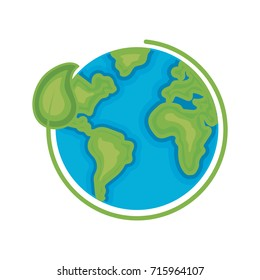 earth planet with ecological leaf design
