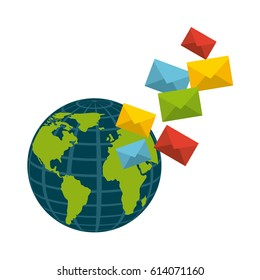earth planet and envelope icon