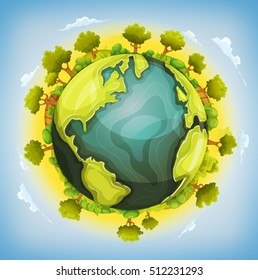 Earth Planet With Forest And Agriculture Elements Around/ Illustration of a cartoon earth planet globe with environment elements around, agriculture fields, trees, hedges, bush, meadows and grass