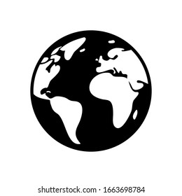 Earth planet, global map. Black icon on white background