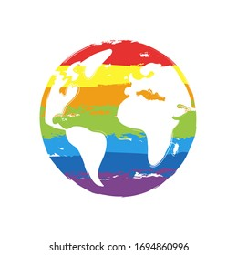 Earth planet, global map. Drawing sign with LGBT style, seven colors of rainbow (red, orange, yellow, green, blue, indigo, violet