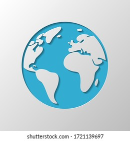 Earth planet, global map. Paper design. Cutted symbol with shadow