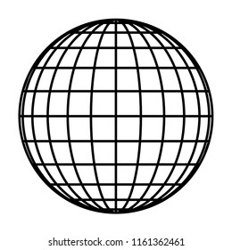 Earth planet globe grid of black thick meridians and parallels, or latitude and longitude. 3D vector illustration.
