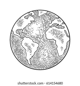 Earth planet globe. Vector black vintage engraving illustration isolated on a white background. For web, poster, info graphic.