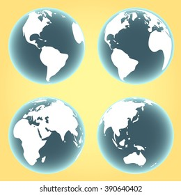 Earth planet icon. different angles. vector illustration