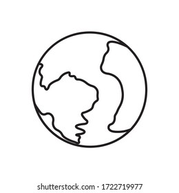 Earth planet icon. Modern style minimalism. The design is suitable for use in web applications, mobile applications, logo templates, tattoos, emblems, print on clothes. Isolated vector illustration