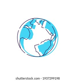 Earth planet logo outline vector icon sign