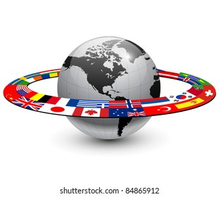 International flags globe images stock photos vectors shutterstock earth planet with orbit made from national flags freerunsca Image collections