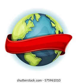 Earth Planet With Ribbon/ Illustration of a cartoon design earth planet globe icon, with red ribbon spinning around