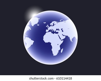 Earth is a planet in space and a sunbeam. Vector illustration